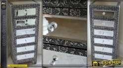 Chiffonnier style marocain noir et argent habillage en miroirs