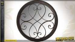 Miroir rond en fer forgé patine métal à l'ancienne Ø 75 cm