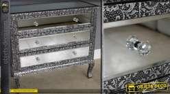 Commode à 3 tiroirs style marocain avec habillages en miroirs