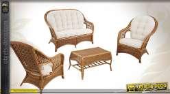 Salon 4 pièces en rotin écorcé et moelle de rotin teintés vernis