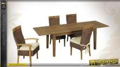 Table salle à manger teck ciré avec rallonges