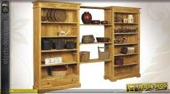 Bibliothèque en teck massif 5 étagères + tiroir