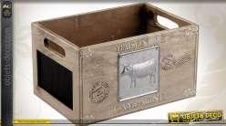 Caisse de rangement bois et métal vintage Maison de Campagne
