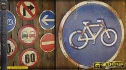 Déco murale ancien panneau de signalisation piste cyclable