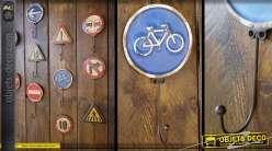 Crochet panneau de signalisation rétro : Piste cyclable