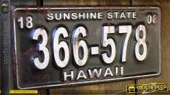 Déco murale métal ancienne plaque minéralogique Hawaii