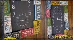 Grande horloge déco américaine plaques minéralogiques vintage