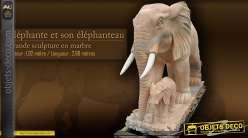 Sculpture en marbre - Eléphante et son éléphanteau