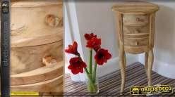Table de nuit tambour à trois tiroirs bois naturel massif