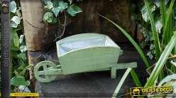 Brouette pot de fleurs en bois coloris vert antique
