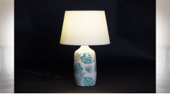 LAMPE DE TABLE CÉRAMIQUE 30X30X49,5 FEUILLES 2 MOD