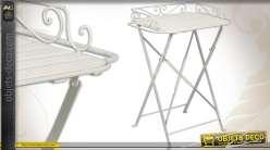 Table d'appoint pliable en bois et métal laqué blanc