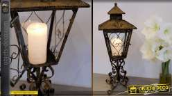 Lanterne à poser en métal et fer forgé finition oxydée 66 cm