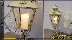 Grande lanterne à poser couleur crème antique 66 cm