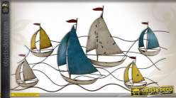 Décoration murale en métal : course de voiliers 120 cm