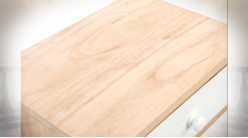 TABLE DE CHEVET BOIS 35X25X61 4 TIROIRS BLANC