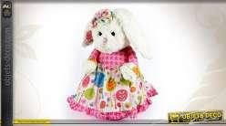 Bloque-porte en forme de peluche de lapin blanc avec robe rose