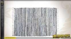 Tapis en jean et cuir argenté 90 x 60 cm