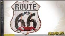 Décoration murale Route 66 sur support MDF 30 x 34 cm
