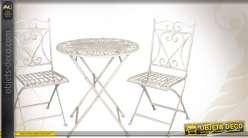Salon de jardin 1 table et 2 chaises en fer forgé blanc antique