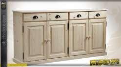 Enfilade 4 portes 4 tiroirs en épicéa massif finition brut