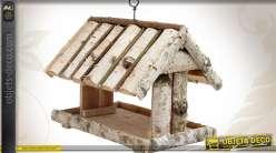Abri et mangeoire à oiseaux en bouleau 38 x 28 cm