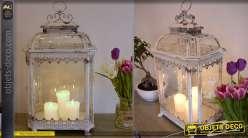 Grande lanterne en métal et verre de style rétro 70 cm