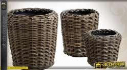 Série de 3 grands cache-pots en poelet gris avec bac plastique