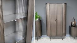 Armoire en métal de style indus, finition effet galvanisé, 2 portes et 3 espaces de rangement, 160cm