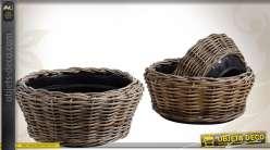 Série de 3 cache-pots rond en poelet avec bacs plastique