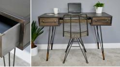 Bureau d'appoint de style industriel en métal finition vieilli et bronze, pieds filamentés et 3 tiroirs, 120cm