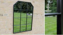 Grand miroir fenêtre avec encadrement en métal finition noir charbon, ambiance jardin d'hiver moderne, 100cm