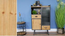 Meuble d'appoint en bois de sapin, métal anthracite et verre gauffré, ambiance moderne épurée, 110cm