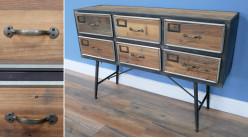 Console à tiroirs en bois de sapin recyclé et métal finition charbon, ambiance récup, 115cm