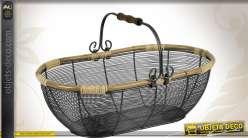 Panier en métal rétro à bords en rotin et avec anse mobile