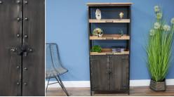 Meuble de rangement en bois de sapin et métal vieilli, esprit bibliothèque d'appoint industrielle, rivets apparents, 150cm