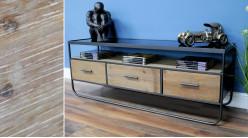 Meuble d'appoint de style moderne en métal anthracite, bois de sapin brut et plateau en verre, 134cm
