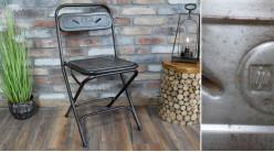 Chaise de récup industrielle en métal finition vieillie authentique, pliable, 84cm