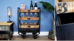 Chariot de bar style industriel en bois de manguier vieilli et métal finition charbon noir, 90cm