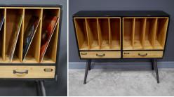 Meuble de rangement en bois et métal de style industriel, pour livres ou vinyles, 99cm