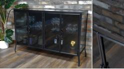 Buffet de style moderne en métal et verre finition noir, ambiance chic, 4 portes, 120cm
