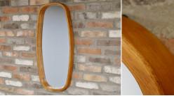 Miroir rustico moderne avec encadrement en bois d'hévéa, forme ovale, 80cm