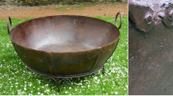 Grand plat Khadai restauré, en provenance d'Inde, pour brasero géant de terasse ou jardin, Ø120cm