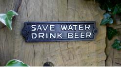 Plaque murale en fonte, Sauvez l'eau - Buvez de la bière, 22cm