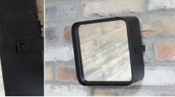 Petit miroir mural inclinable, en métal noir effet vieilli, ambiance vestiaire d'usine, 21cm