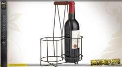 Panier porte-bouteilles en métal style rétro