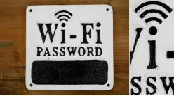 Plaque murale en fonte pour inscription du code Wifi, en noir et blanc, finitions anciennes, 16x16cm