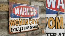 Plaque murale en métal, Femmes des cavernes, finitions effet anciennes oxydées, 30x40cm