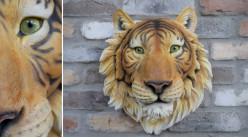 Tête de tigre murale en résine esprit trophée, effet réaliste coloré et vif, ambiance safari sauvage, Ø36cm
