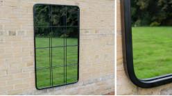 Grand miroir rectangulaire en métal finition noir charbon, style fenêtre 12 carreaux, 125cm